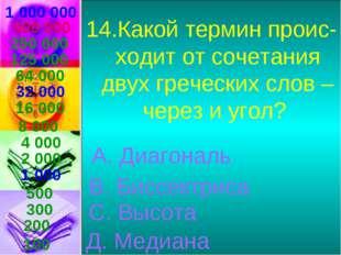 1 000 000 14.Какой термин проис-ходит от сочетания двух греческих слов – чере
