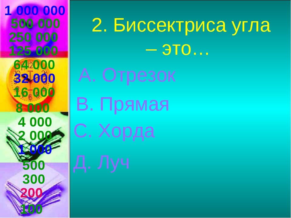 1 000 000 2. Биссектриса угла – это… А. Отрезок В. Прямая С. Хорда Д. Луч 500...