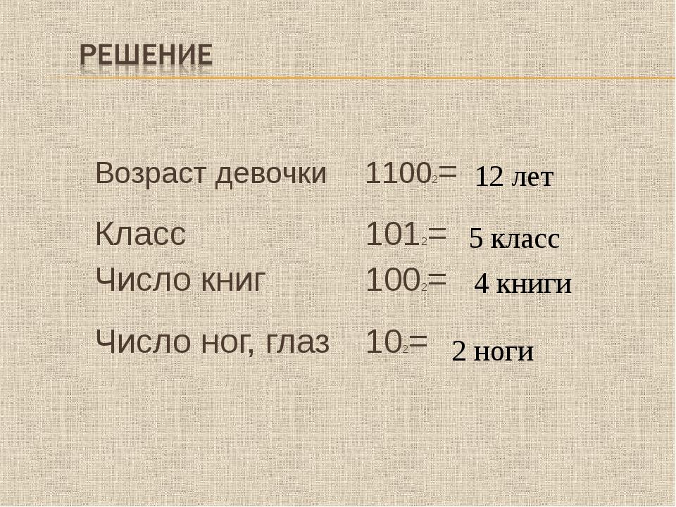 Возраст девочки 11002= Класс 1012= Число книг1002= Число ног, глаз102=...