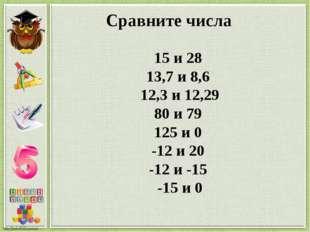 Сравните числа 15 и 28 13,7 и 8,6 12,3 и 12,29 80 и 79 125 и 0 -12 и 20 -12 и