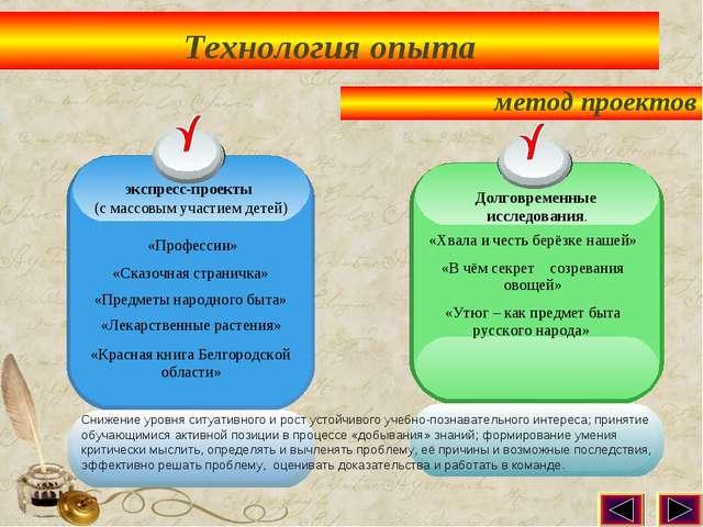 Технология опыта метод проектов экспресс-проекты (с массовым участием детей)...