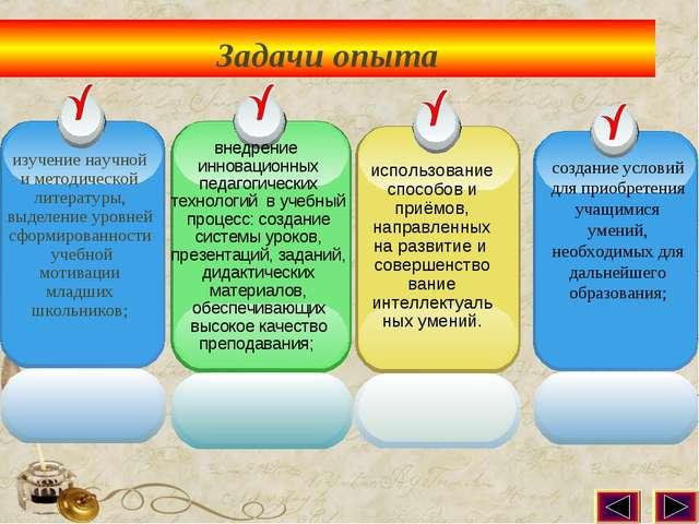 Задачи опыта изучение научной и методической литературы, выделение уровней сф...