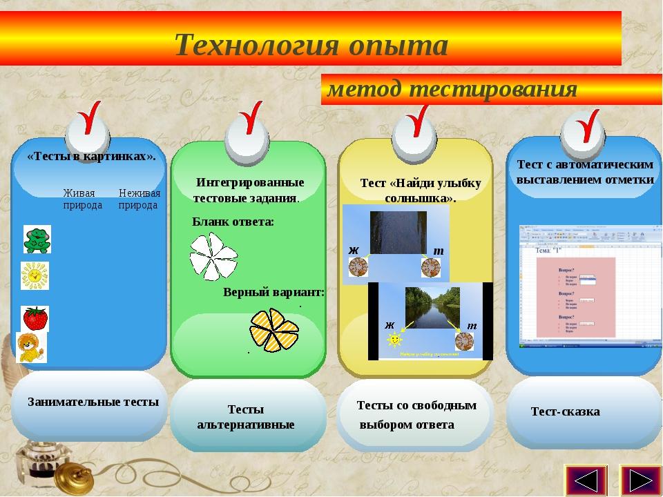Технология опыта «Тесты в картинках». Интегрированные тестовые задания. Тест...