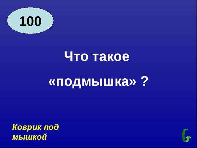 100 Что такое «подмышка» ? Коврик под мышкой
