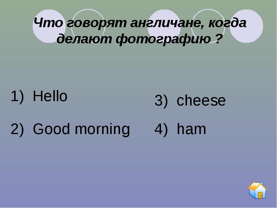 Что говорят англичане, когда делают фотографию ? 1) Hello 2) Good morning 3)...
