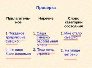 Проверка Прилагатель-ное Наречие Слово категории состояния Показное трудолюби