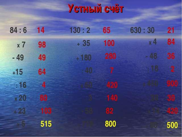 Устный счёт 14 65 21 98 49 64 4 80 103 515 100 280 7 420 140 82 800 84 36 2 9...