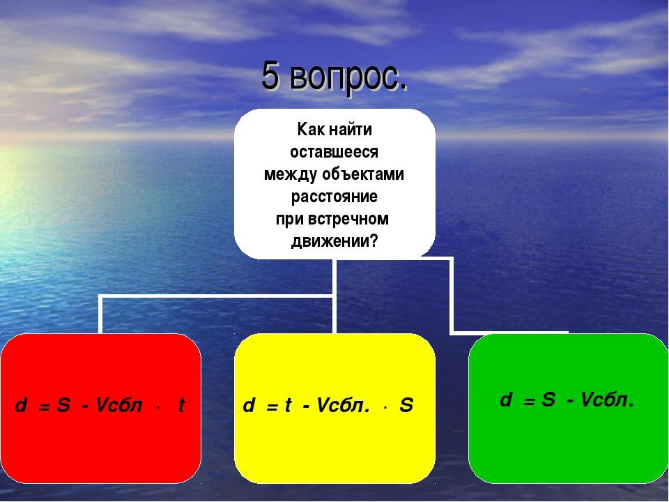 5 вопрос. d = S - Vсбл · t d = t - Vсбл. · S d = S - Vсбл.