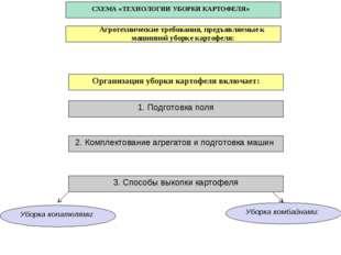 СХЕМА «ТЕХНОЛОГИИ УБОРКИ КАРТОФЕЛЯ» 1. Подготовка поля 2. Комплектование агре