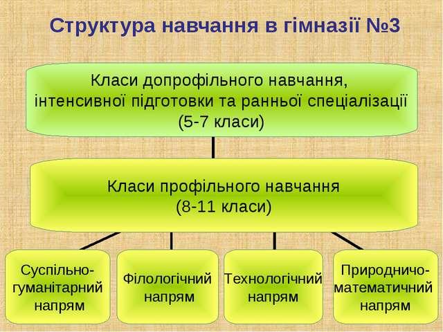 Структура навчання в гімназії №3 Класи допрофільного навчання, інтенсивної пі...