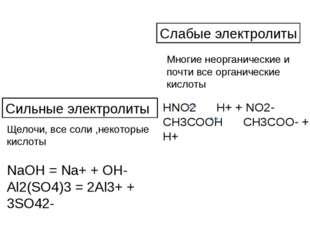 NaOH = Na+ + OH- Al2(SO4)3 = 2Al3+ + 3SO42- Сильные электролиты Щелочи, все с