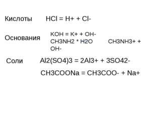 HCl = H+ + Cl- Кислоты Основания KOH = K+ + OH- CH3NH2 * H2O CH3NH3+ + OH- Со