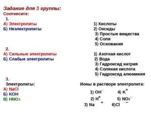 Задание для 3 группы: Соотнесите: 1. А) Электролиты 1) Кислоты Б) Неэлектроли