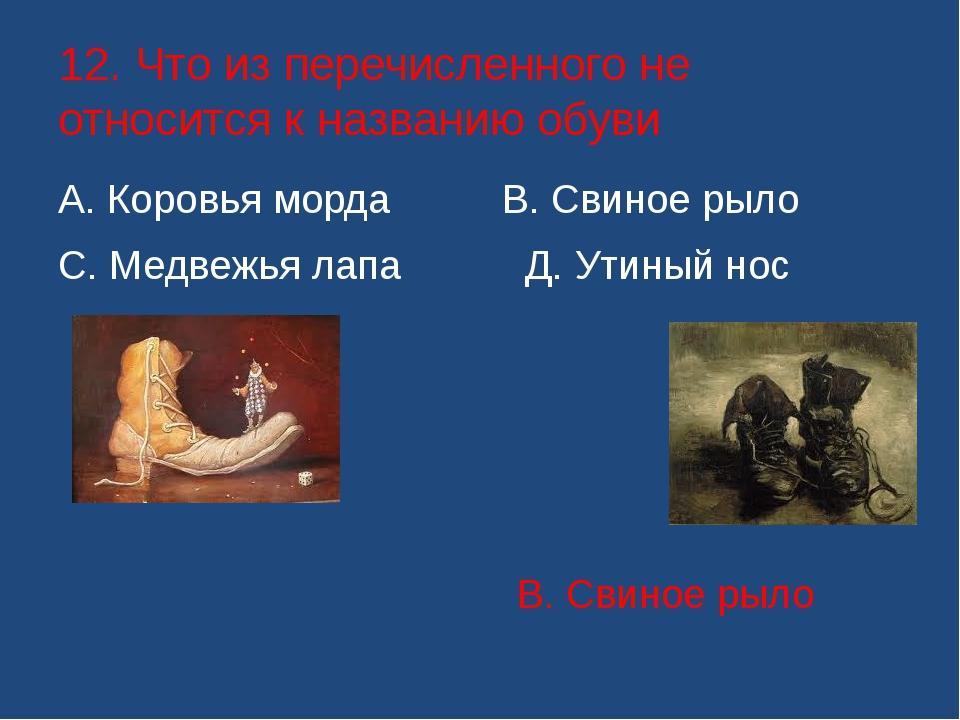 12. Что из перечисленного не относится к названию обуви А. Коровья морда В....