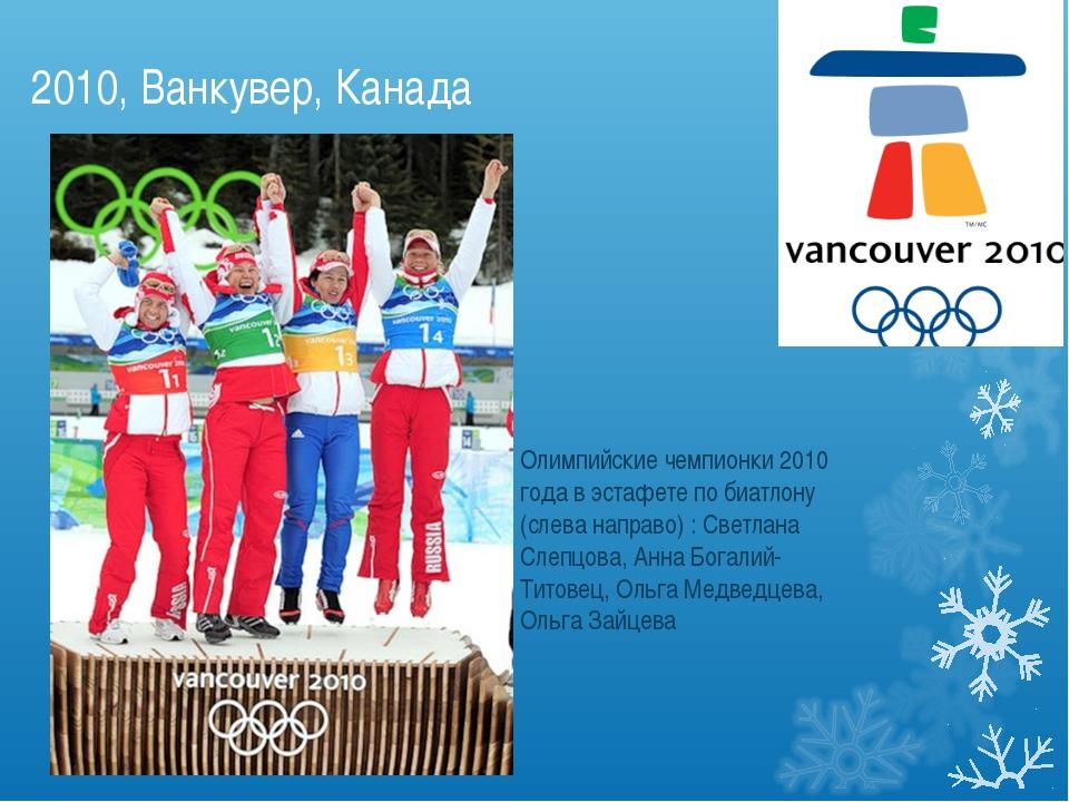 2010, Ванкувер, Канада Олимпийские чемпионки 2010 года в эстафете по биатлону...
