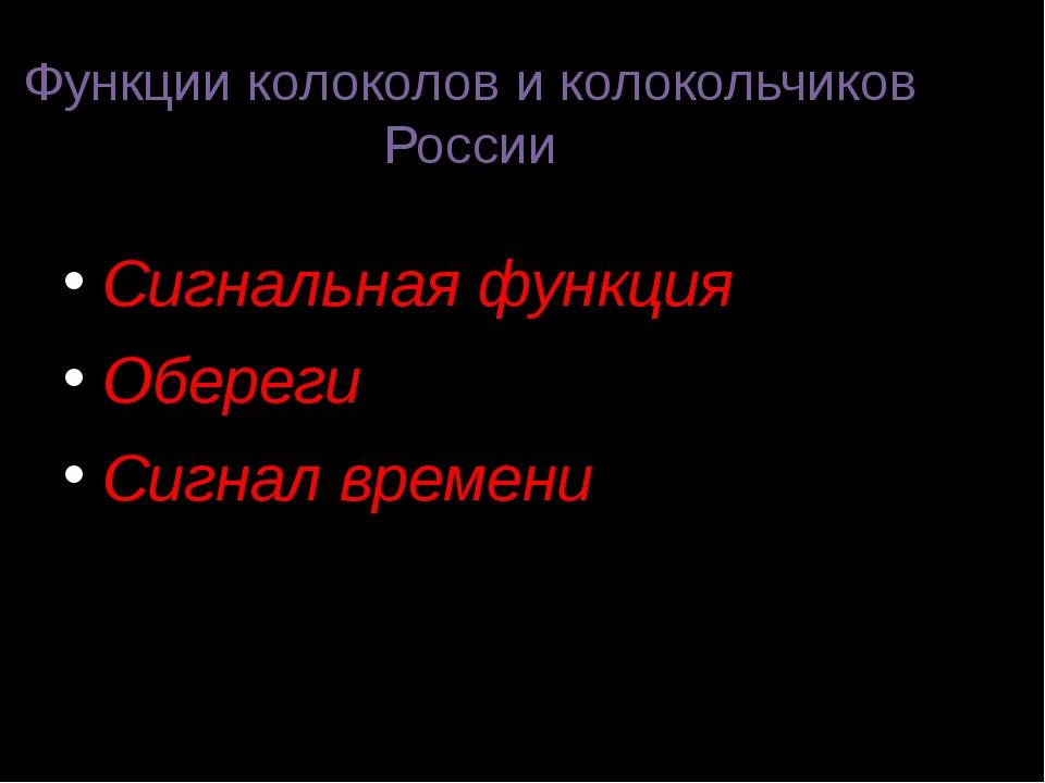Функции колоколов и колокольчиков России Сигнальная функция Обереги Сигнал вр...