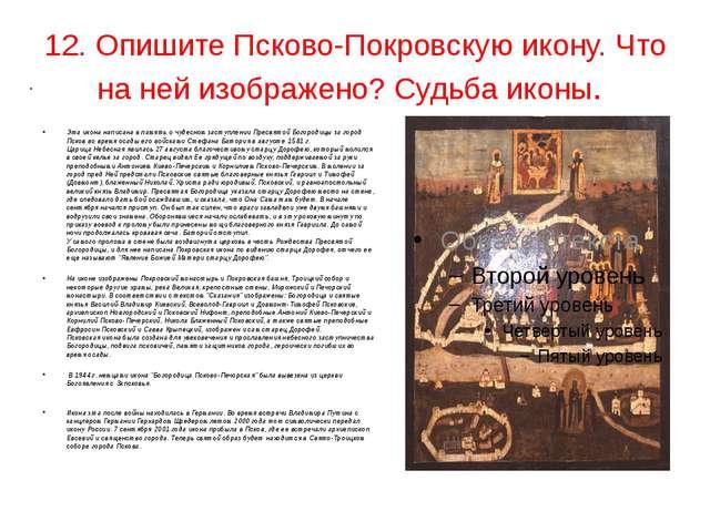 . 12. Опишите Псково-Покровскую икону. Что на ней изображено? Судьба иконы. Э...