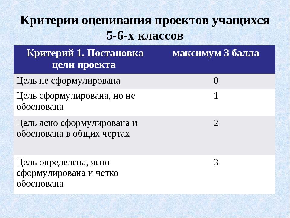 Критерии оценивания проектов учащихся 5-6-х классов Критерий 1. Постановка це...