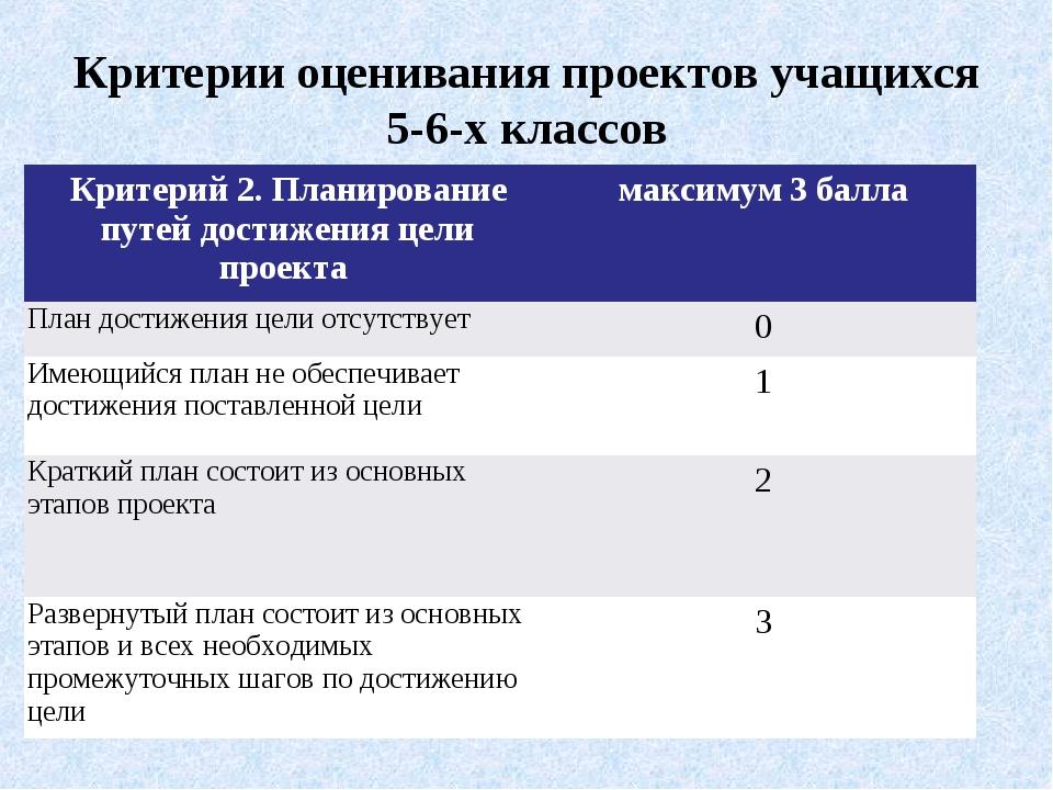 Критерии оценивания проектов учащихся 5-6-х классов Критерий 2. Планирование...