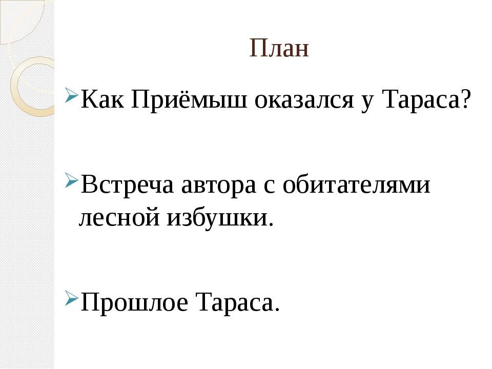 План Как Приёмыш оказался у Тараса? Встреча автора с обитателями лесной избуш...