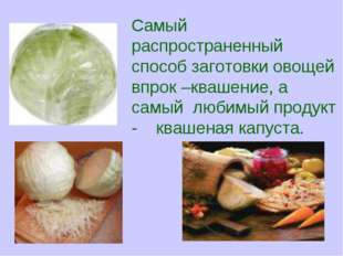 Самый распространенный способ заготовки овощей впрок –квашение, а самый любим