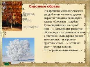 Сквозные образы Береза, клён, черемуха Из древнего мифологического уподоблени
