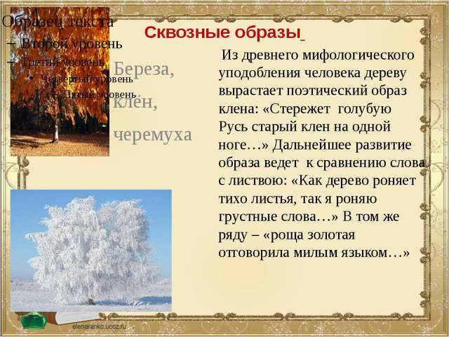 Сквозные образы Береза, клён, черемуха Из древнего мифологического уподоблени...