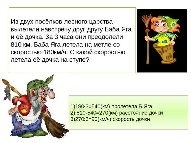 Из двух посёлков лесного царства вылетели навстречу друг другу Баба Яга и её...