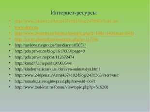 Интернет-ресурсы http://www.24open.ru/Arina4374192/blog/2479363/?sort=asc www
