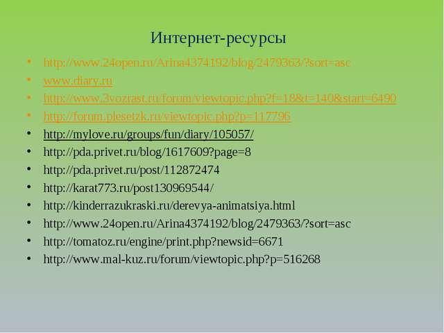 Интернет-ресурсы http://www.24open.ru/Arina4374192/blog/2479363/?sort=asc www...