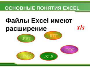 ОСНОВНЫЕ ПОНЯТИЯ EXCEL Файлы Excel имеют расширение xls .PPT .DOC .BMP .XLS .