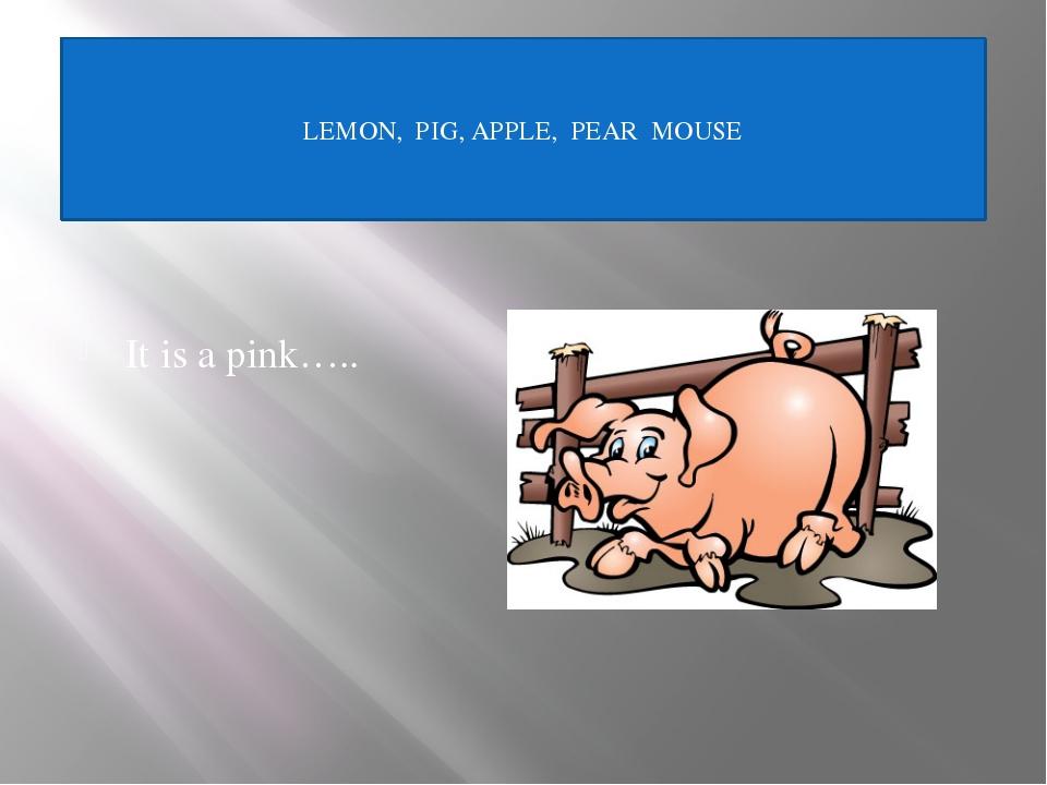 It is a grey…. LEMON, PIG, APPLE, PEAR, MOUSE