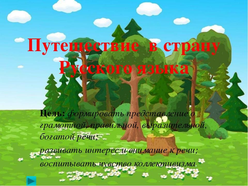 Путешествие в страну Русского языка Цель: формировать представление о грамотн...