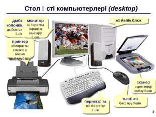 * Стол үсті компьютерлері (desktop) жүйелік блок дыбыс колонкалары дыбыс шыға