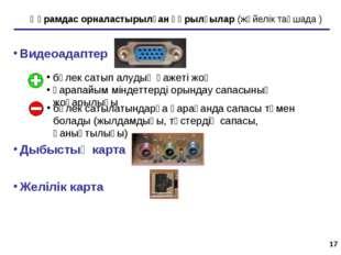 * Құрамдас орналастырылған құрылғылар (жүйелік тақшада ) Видеоадаптер Дыбысты