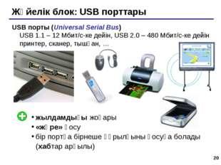 * Жүйелік блок: USB порттары USB порты (Universal Serial Bus) USB 1.1 – 12 Мб
