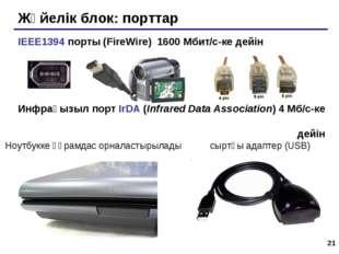 * Жүйелік блок: порттар IEEE1394 порты (FireWire) 1600 Мбит/c-ке дейін Инфрақ