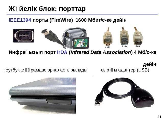 * Жүйелік блок: порттар IEEE1394 порты (FireWire) 1600 Мбит/c-ке дейін Инфрақ...