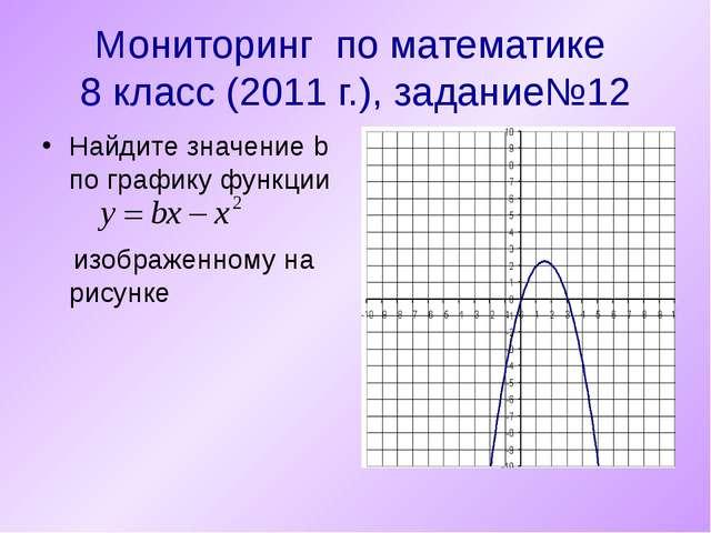 Мониторинг по математике 8 класс (2011 г.), задание№12 Найдите значение b по...
