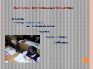 Ключевые термины исследования - модель - моделирование -модельный план - схе