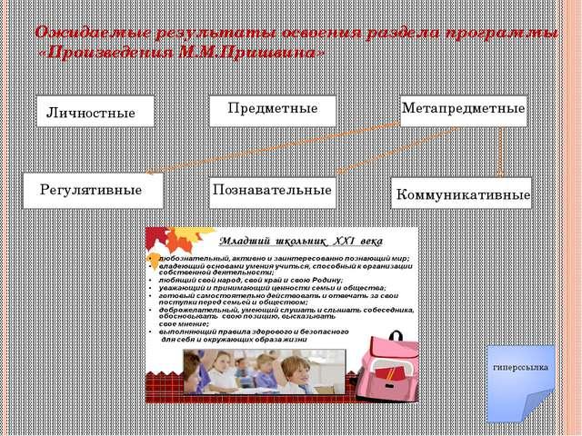 Ожидаемые результаты освоения раздела программы «Произведения М.М.Пришвина» Л...