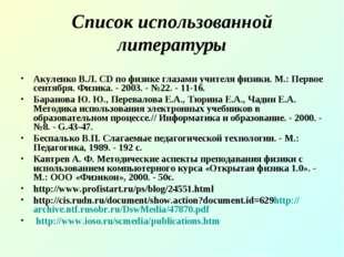 Список использованной литературы Акуленко В.Л. CD по физике глазами учителя ф
