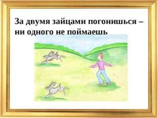 За двумя зайцами погонишься – ни одного не поймаешь