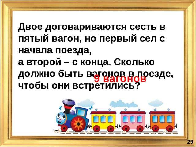 Двое договариваются сесть в пятый вагон, но первый сел с начала поезда, а вто...