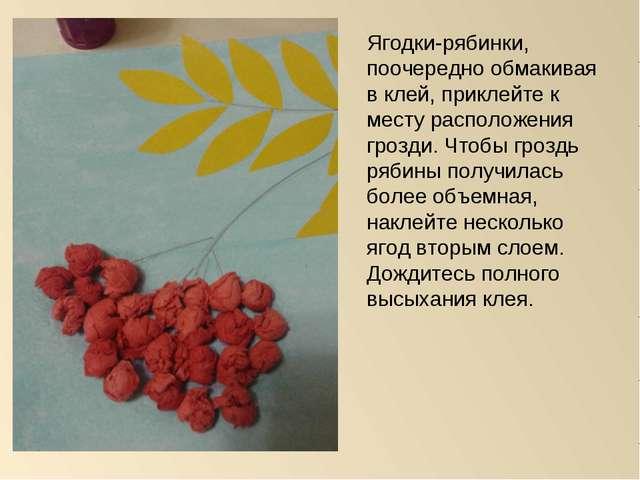 Ягодки-рябинки, поочередно обмакивая в клей, приклейте к месту расположения г...