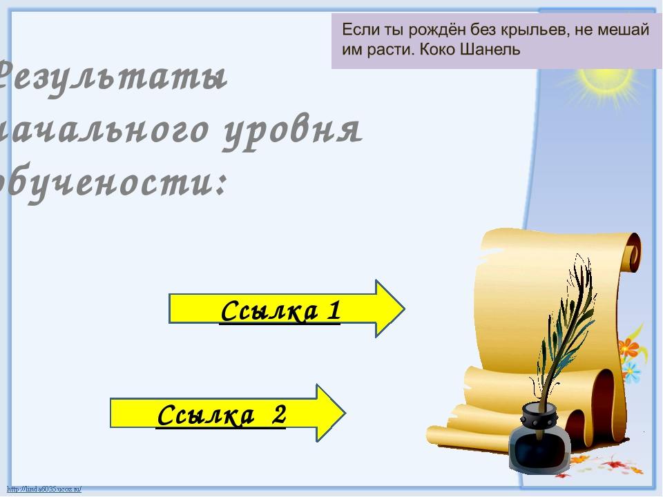 Результаты начального уровня обучености: Ссылка 1 Ссылка 2