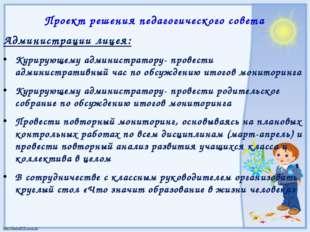 Администрации лицея: Курирующему администратору- провести административный ча