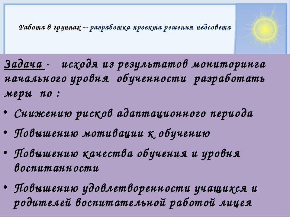 Работа в группах – разработка проекта решения педсовета Задача - исходя из р...