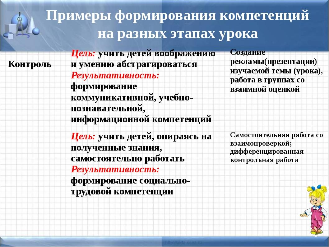 Примеры формирования компетенций на разных этапах урока Контроль Цель:учить д...