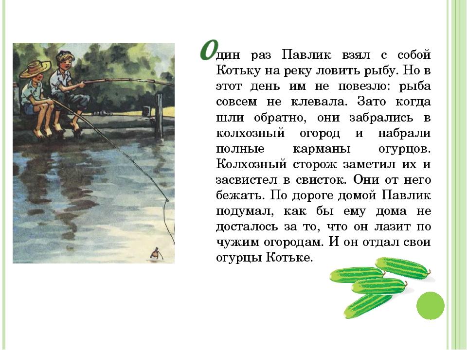 дин раз Павлик взял с собой Котьку на реку ловить рыбу. Но в этот день им не...